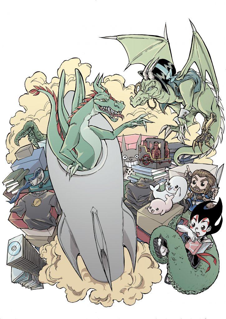 Illustration till Science Fiction-bokhandelns jubileiumsbok (ännu ej släppt, använd med tillstånd).